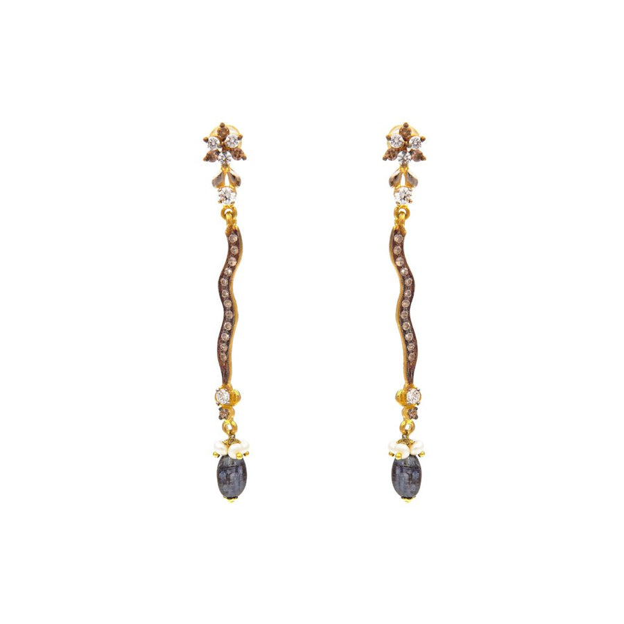 Sleek and slender CZ earrings in dark rhodium polish made in 22k gold