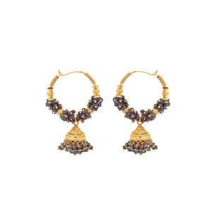 Classic Jhumka Bali with Sapphires  made in 22 karat gold