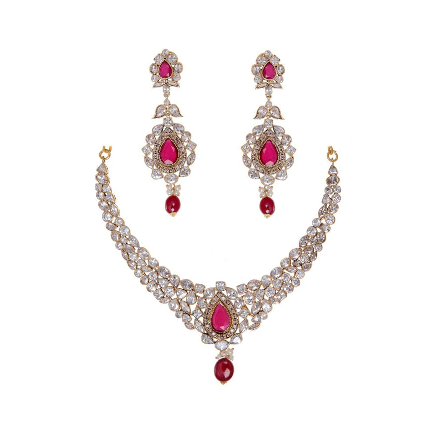 Beautiful Ruby, Pearls, and Polki Necklace Set made in 22 karat gold