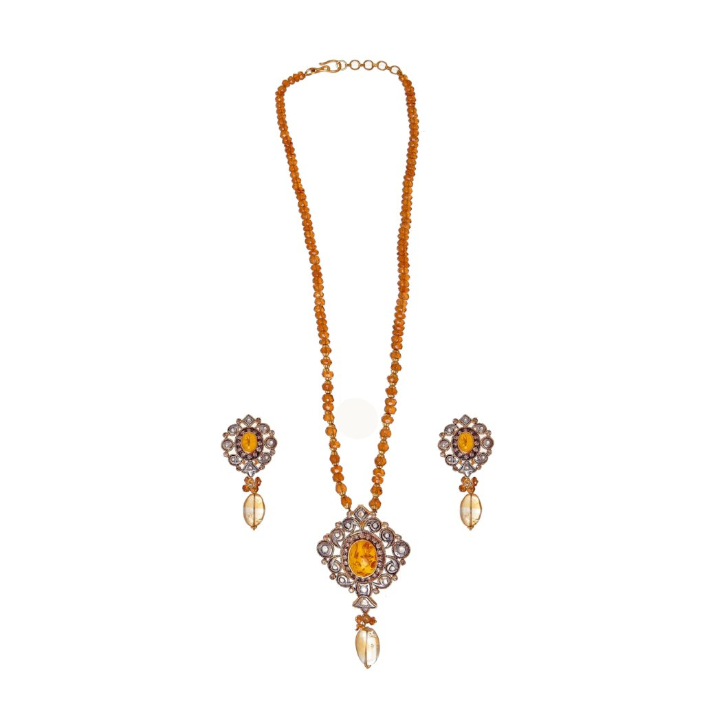 Elegant Amber and Polki string set made in 22 karat gold