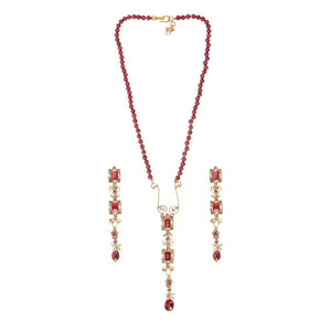 Sleek Garnet and Pearl string set made in 22k gold