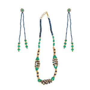 Emerald and Sapphire string set with long earrings made in 22 karat gold