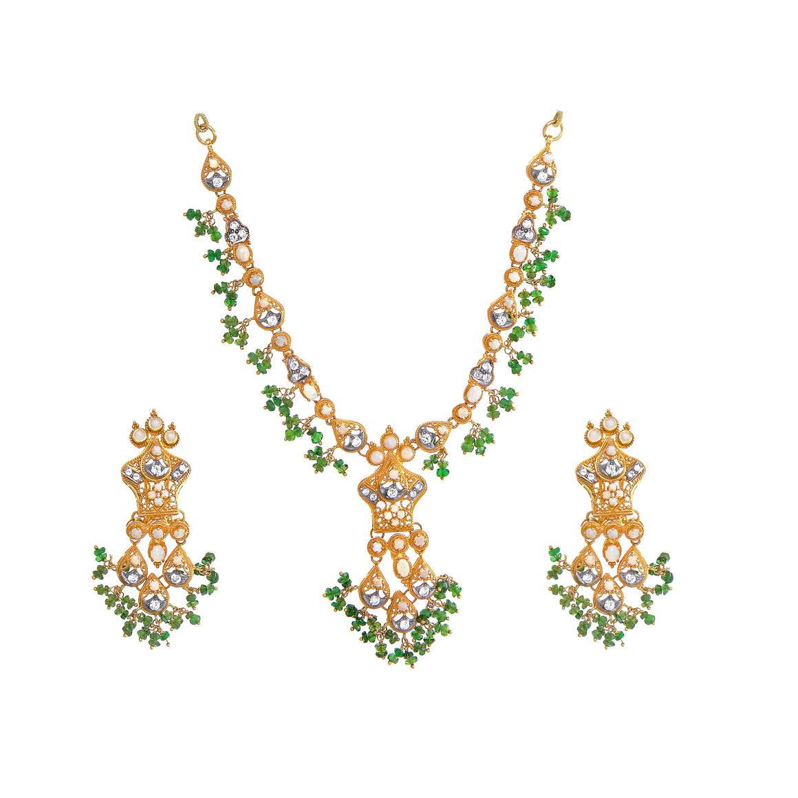 Ornate Opal and Emerald Necklace Set made in 22k gold
