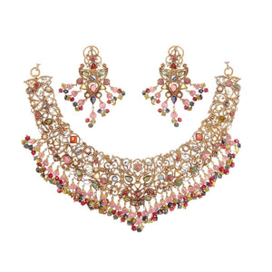 Colorful CZ bridal Set in 22k gold