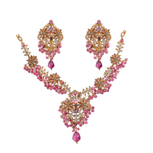 Floral patterned pink tourmaline bridal set made in 22k gold
