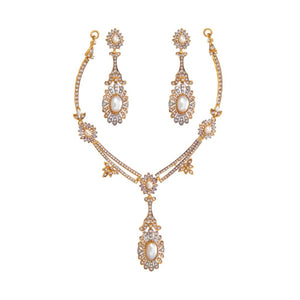 White pearls and Cubic Zirconia necklace set with long earrings made in 22k gold