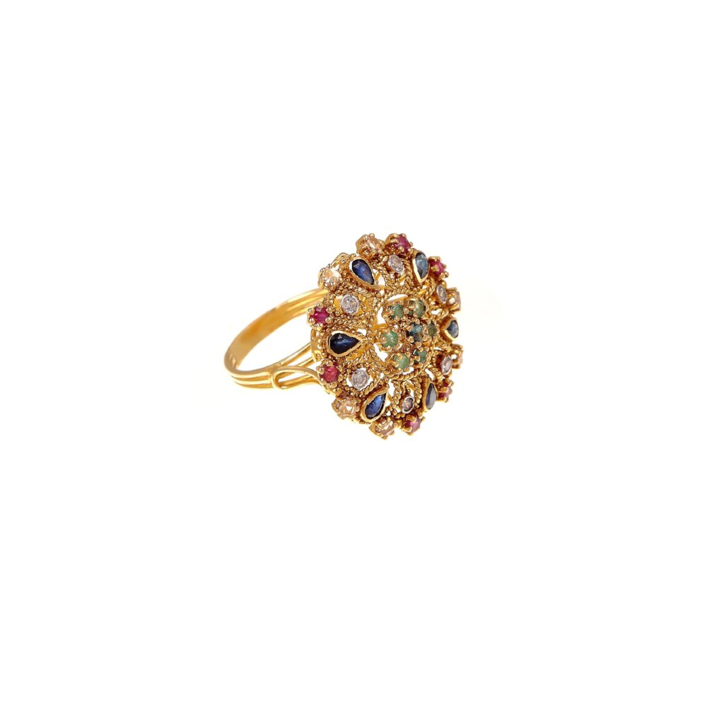 Designer ring with Rubies, Sapphires, Emeralds, and Cubic Zirconia made in 22k gold