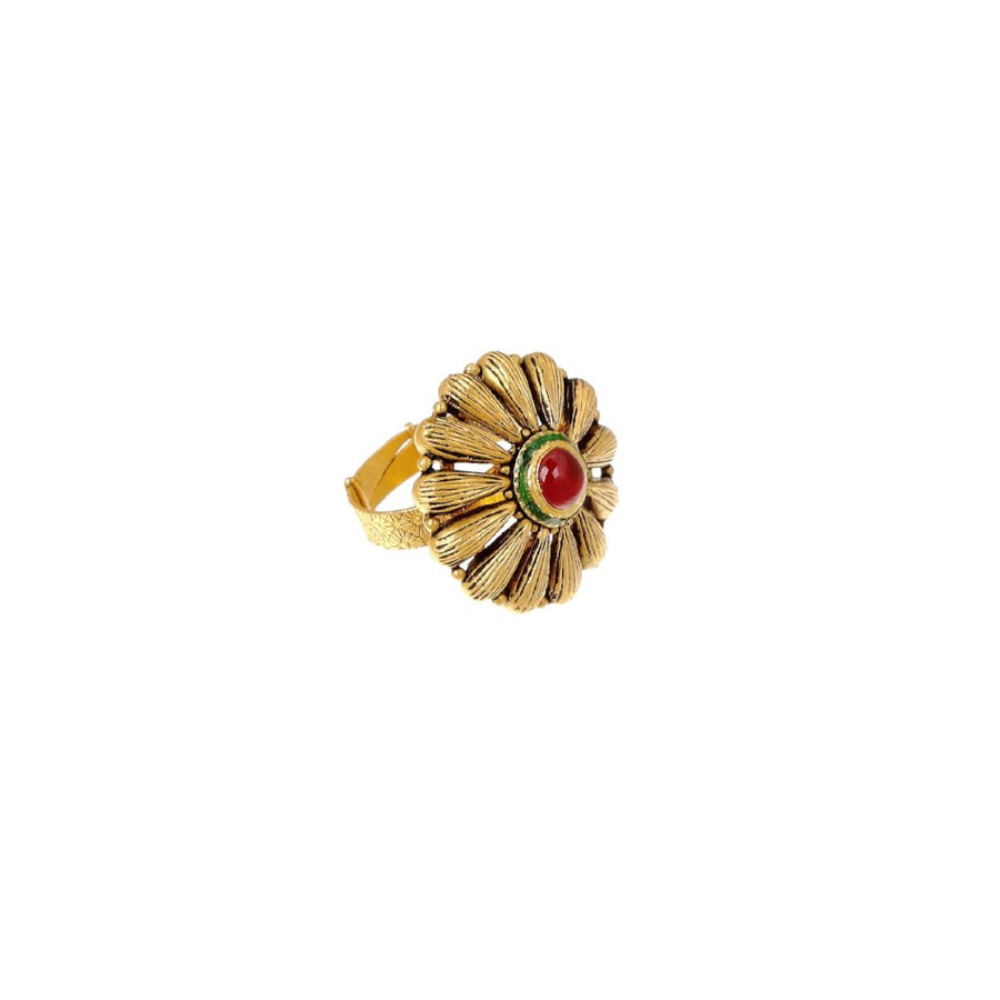 Striking Ruby and green Mina ring in antique finish made in 22k gold