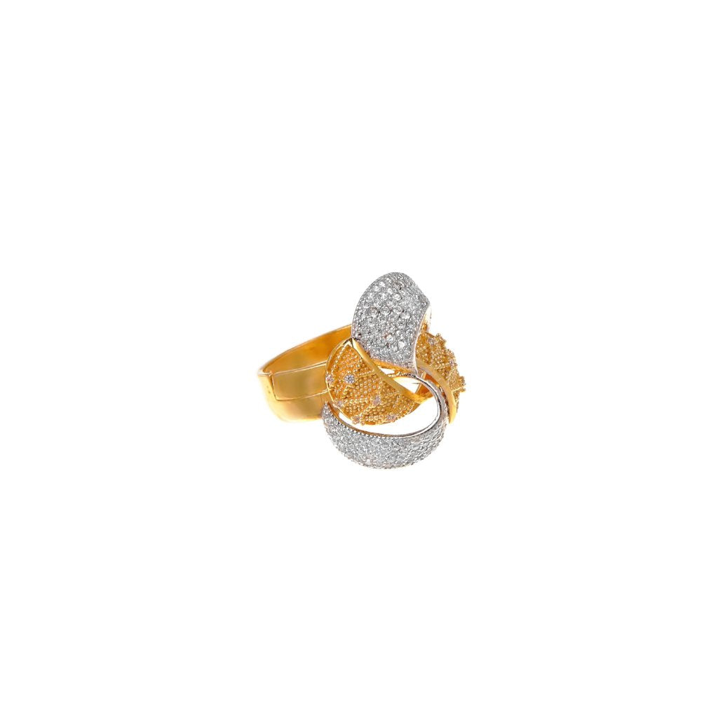 Glittering ring with stylish design studded with cubic zirconia in 22k gold