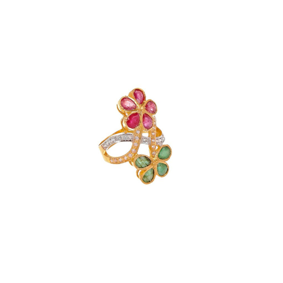 Ruby and Emerald ring in floral design made in 22k gold