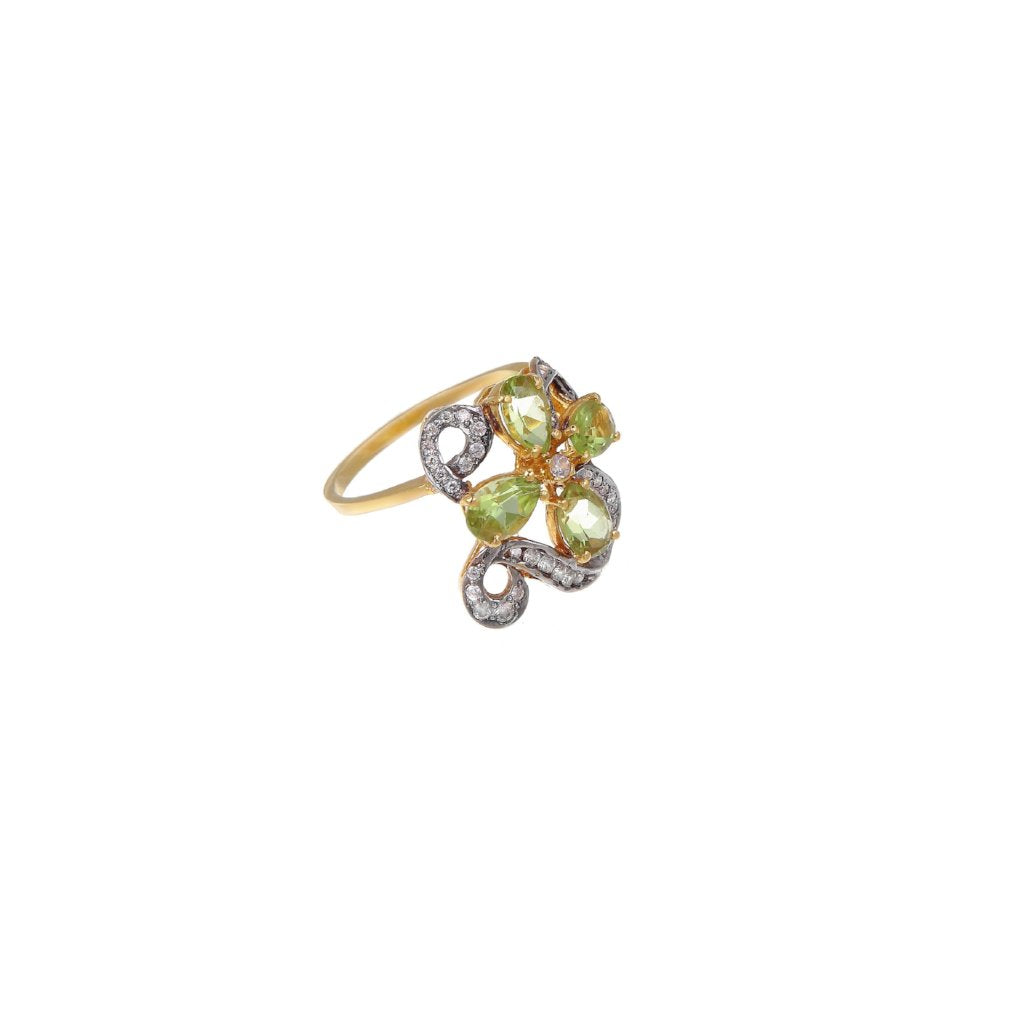 Contemporary evening ring studded with Peridot made in 22k gold