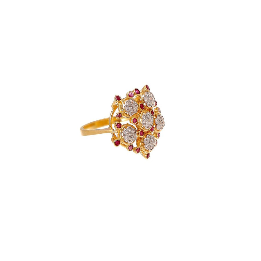 Shimmering Ruby and Cubic Zirconia evening ring made in 22k gold