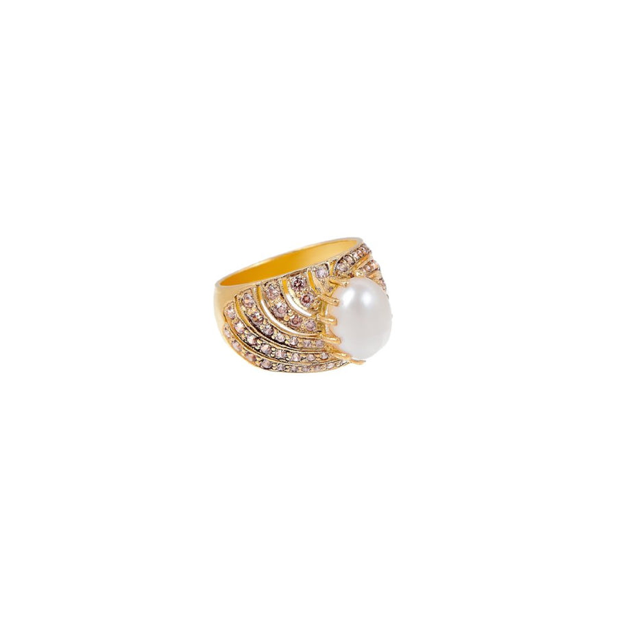 Ornate evening ring with flawless pearl center and shimmering smokey quartz made in 22k gold