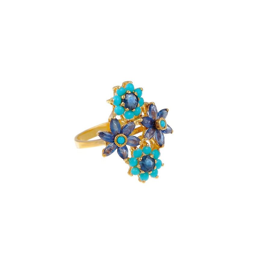 Eye-catching Turquoise and Sapphire evening ring made in 22k gold