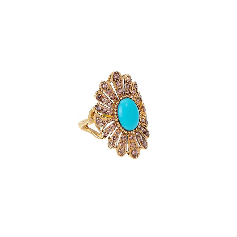 Turquoise and Smokey Quartz statement ring made in 22k gold