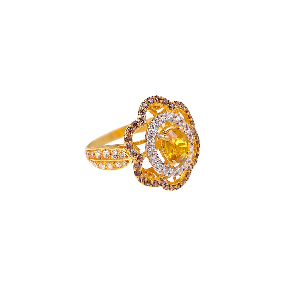 Floral design Citrine and Smokey Quartz ring made in 22k gold