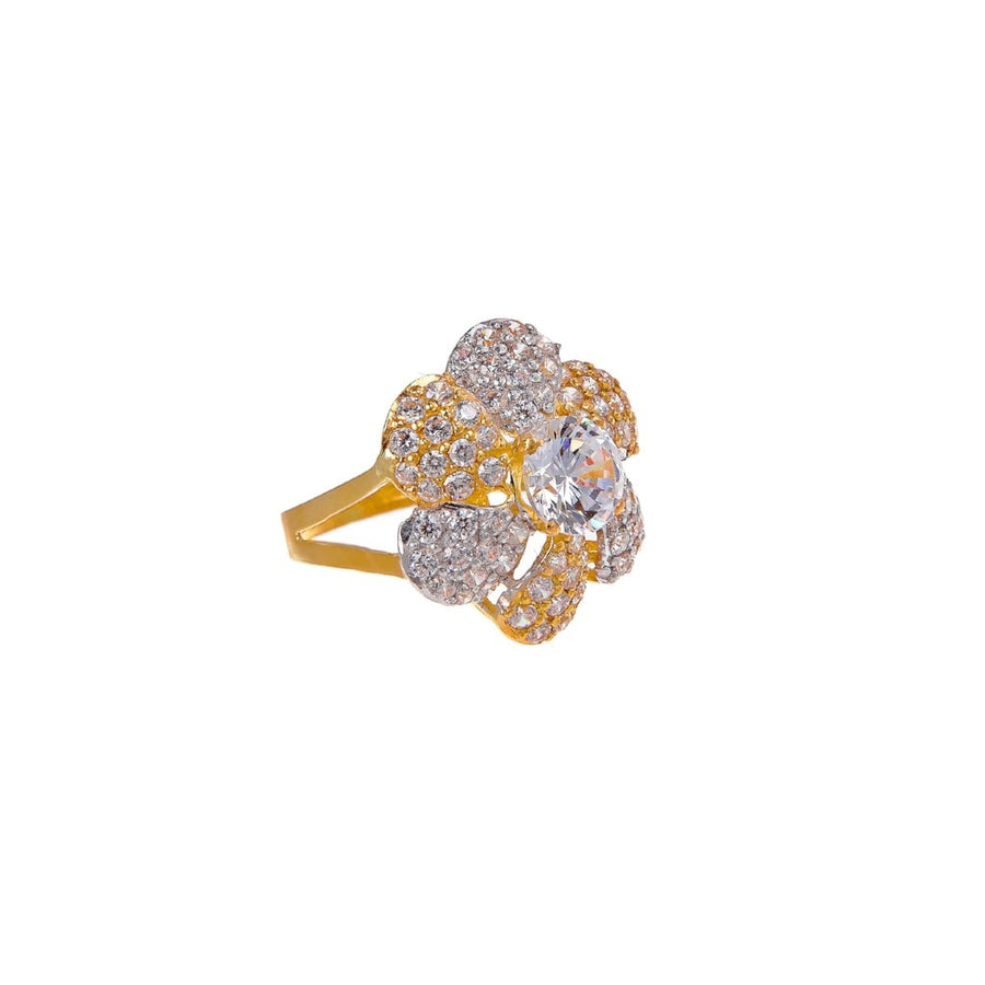Classic flower design Cubic Zirconia ring made in 22k gold