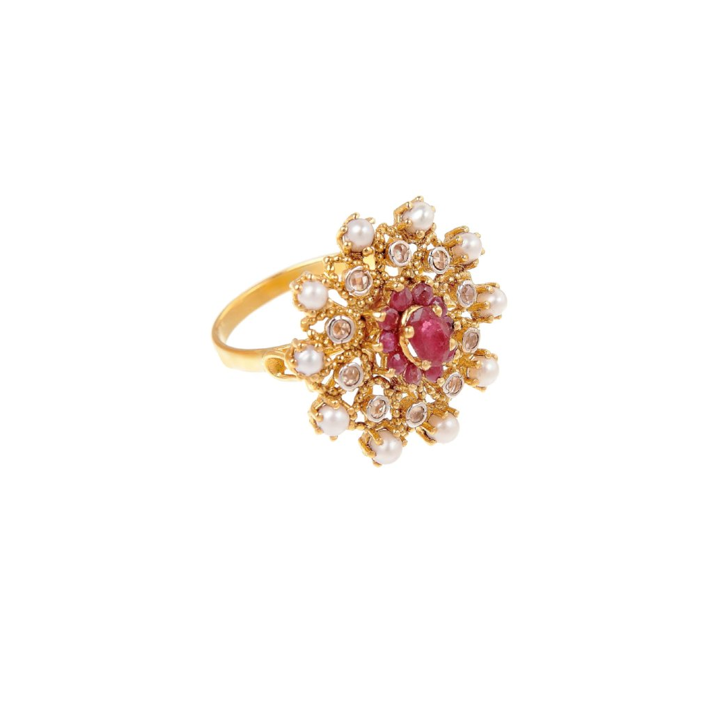 Radiant Ruby and Pearl cocktail ring made in 22k gold