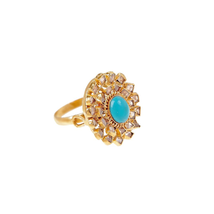 Timeless Turquoise and Polki cocktail ring made in 22k gold