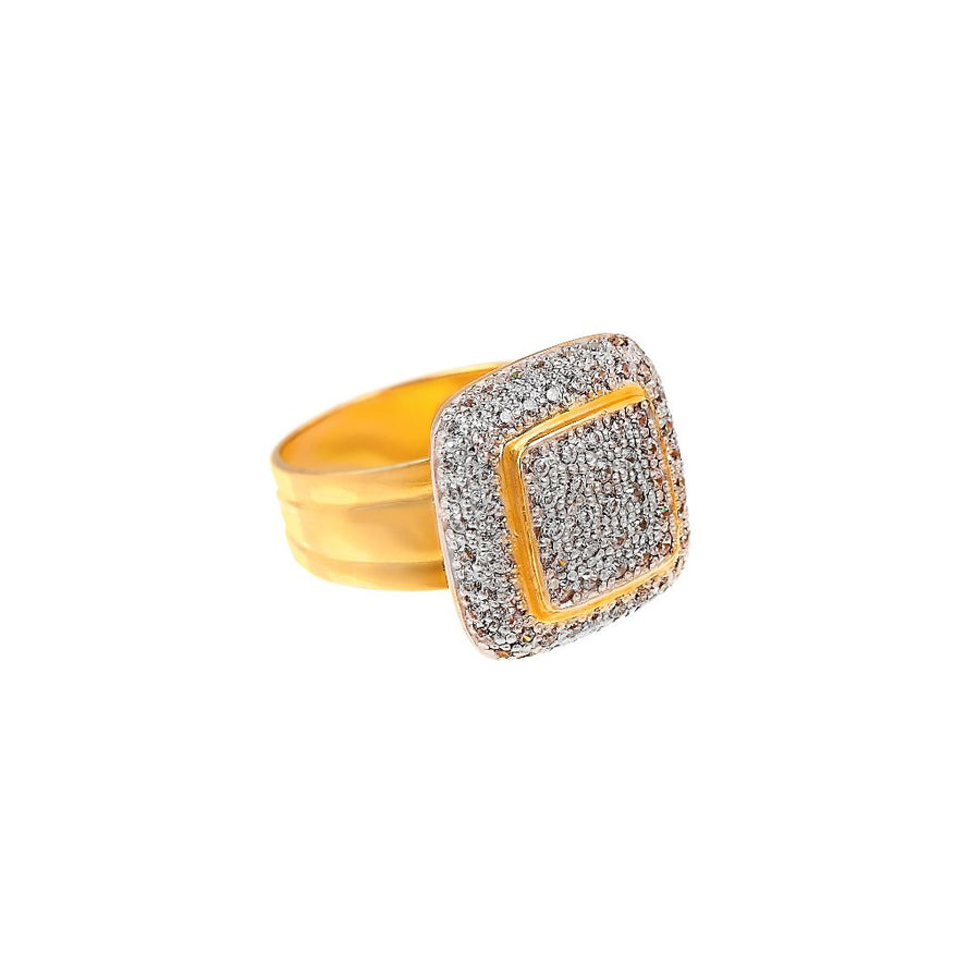 Bold Cubic Zirconia Cocktail Ring made in 22k gold
