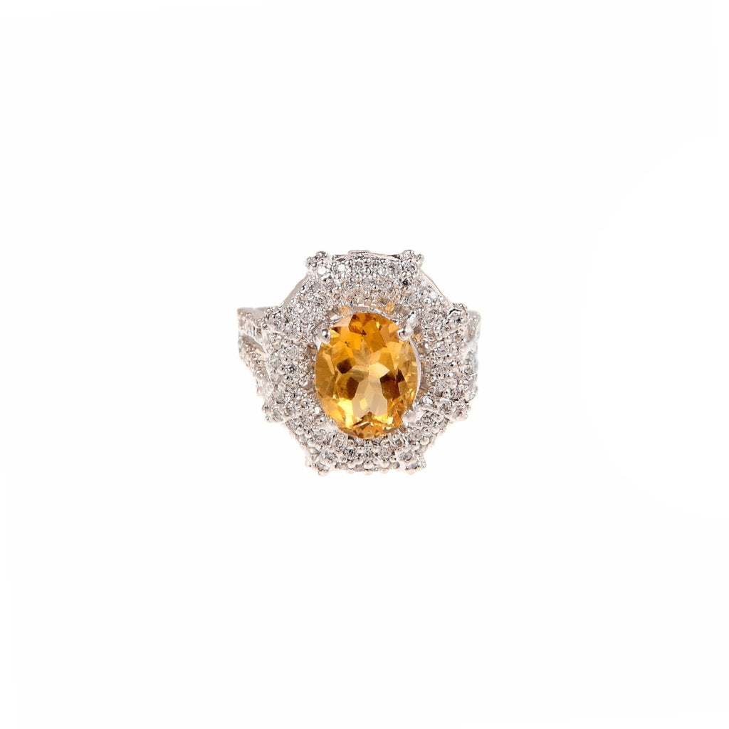 Brilliant gemstone ring studded with colored and white Cubic Zirconia made in 22k gold