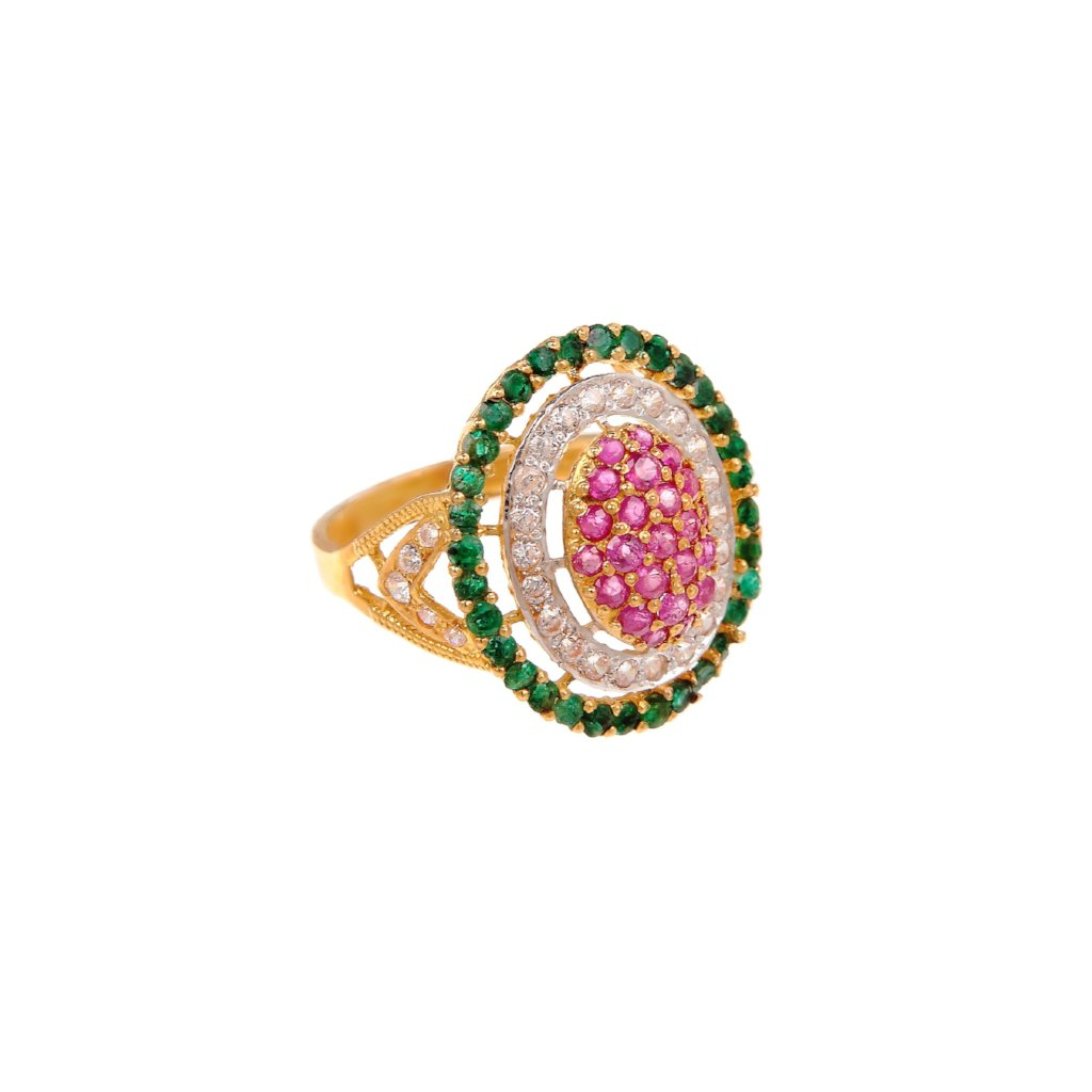 Colorful statement ring with glittering Rubies, Emeralds, and Cubic Zirconia made in 22k gold