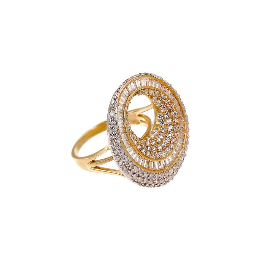Stunning Statement ring made with dazzling Cubic Zirconia made in 18k gold