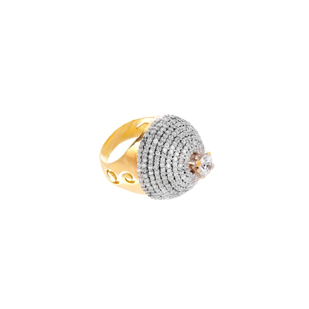 Dome shaped ring with brilliant Cubic Zirconia made in 21k gold