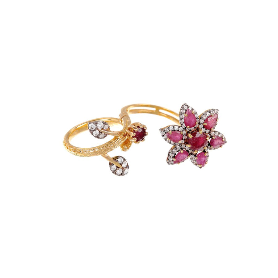 Flexible designer ring in Rubies and Cubic Zirconia made in 22k gold