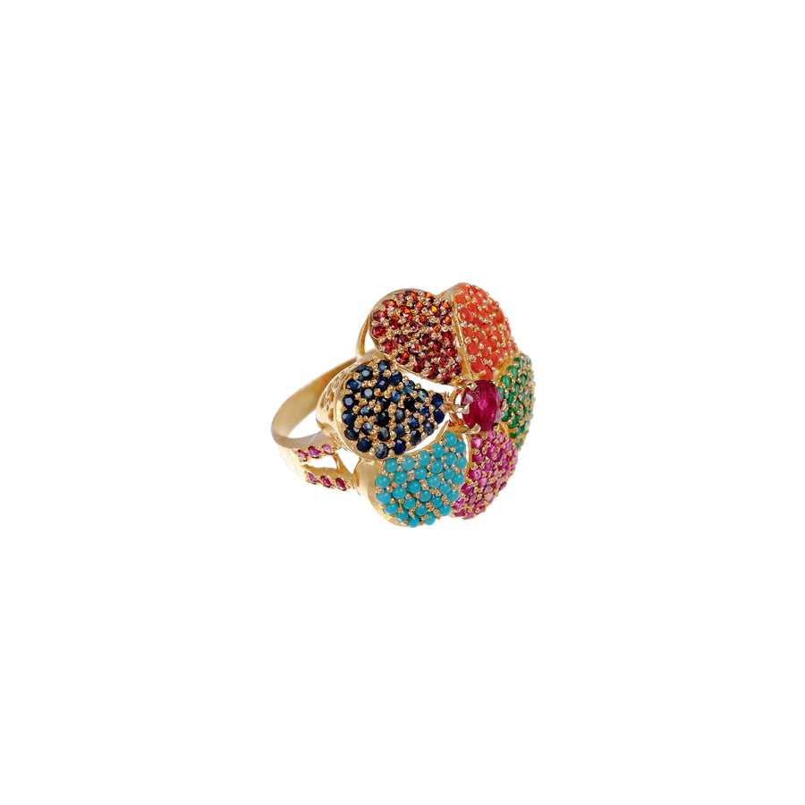 Floral design ring with colorful gemstones made in 22k gold