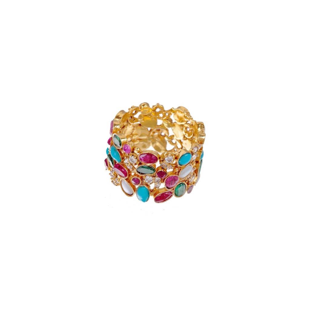 Stunning ring in colorful setting with Turquoise, Rubies, Emeralds, & Cubic Zirconia in 22k gold