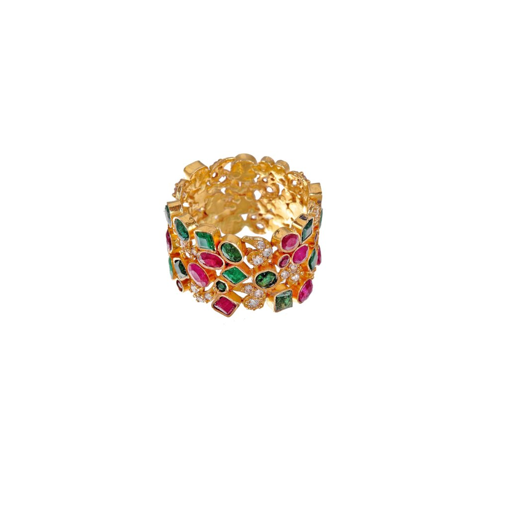 Colourful ring with Emeralds, Rubies, and Cubic Zirconia made in 22k gold