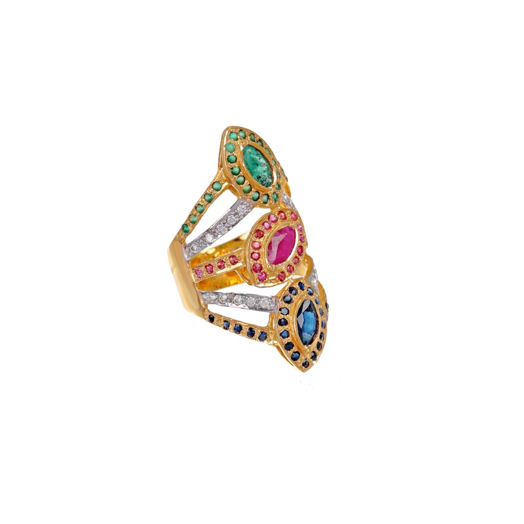 Ruby, Emerald, Sapphire, & Cubic Zirconia ring in 2-tone finish made in 22k gold