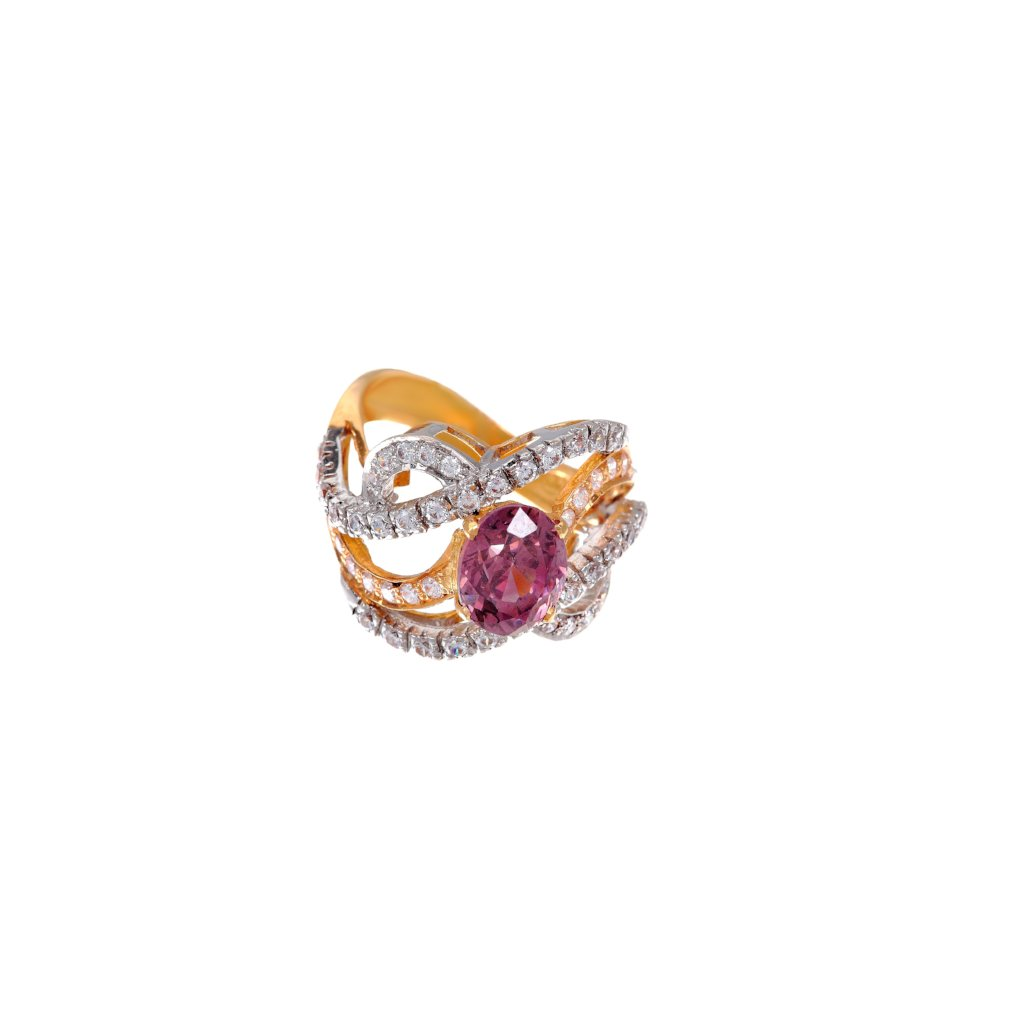 Dazzling Pink Tourmaline ring, handmade in 21 karat gold finished in 2-tone