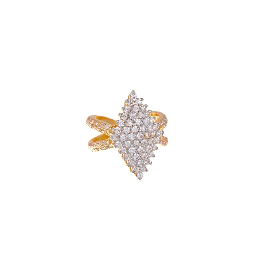 Cubic Zirconia cocktail ring in 22K yellow gold