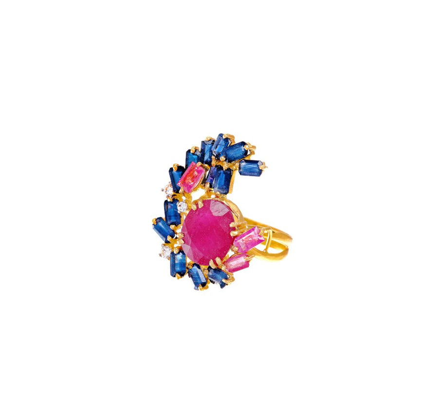 Exquisite 21K gold ring with Rubies, Sapphires, Pink Tourmaline, & Cubic Zirconia