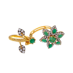 Dazzling ring fashioned in 22k Gold with Emeralds and Cubic Zirconia