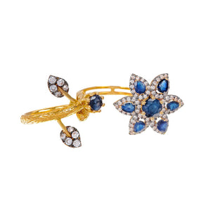 Dazzling ring fashioned in 22k Gold with Sapphire and Cubic Zirconia