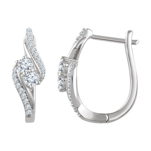 Diamond Fashion, Earrings, Diamond Earrings, Hoops, 14K White