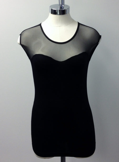 sleeveless mesh insert top