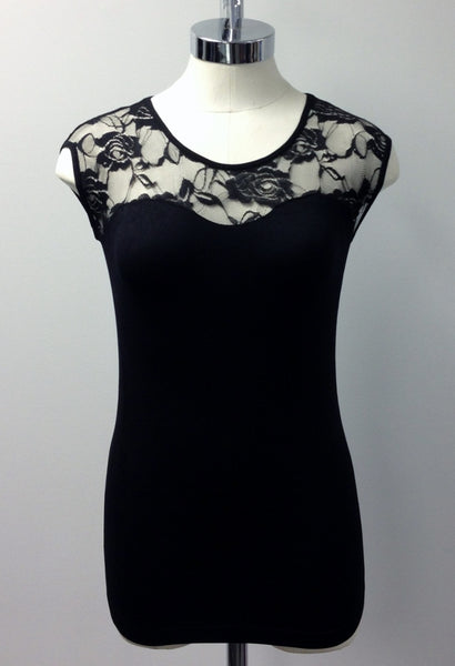 sleeveless lace insert top