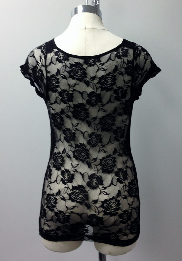 short sleeve lace back