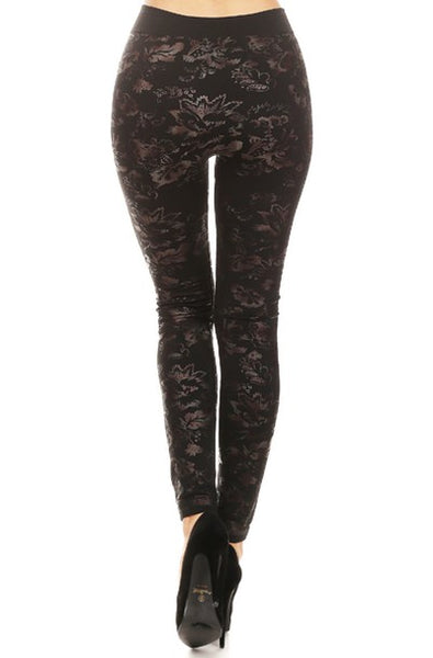 foil embossed floral leaf legging