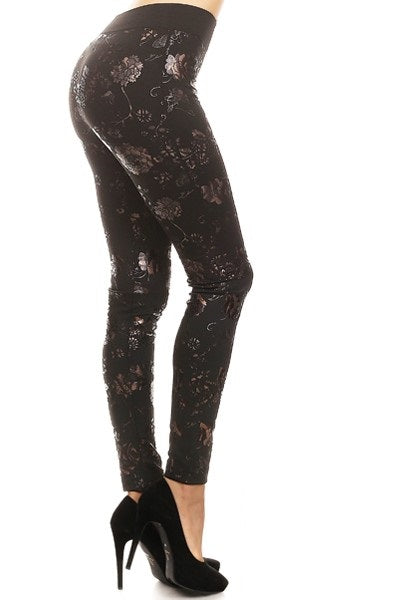 foil embossed roses legging