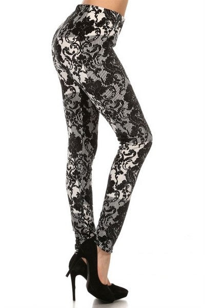 velvet floral song footless legging