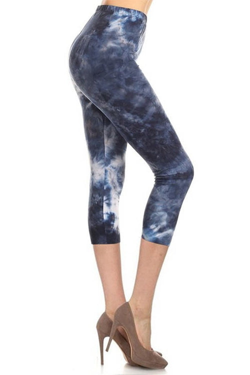 sueded brooklynn blue tye dye capri legging