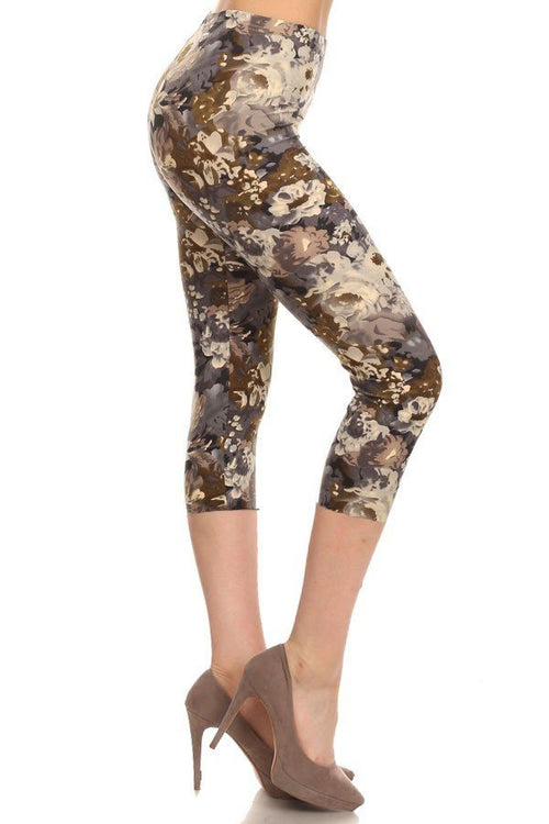sueded floral camo capri legging