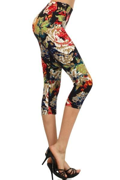 sueded fall batanical capri legging