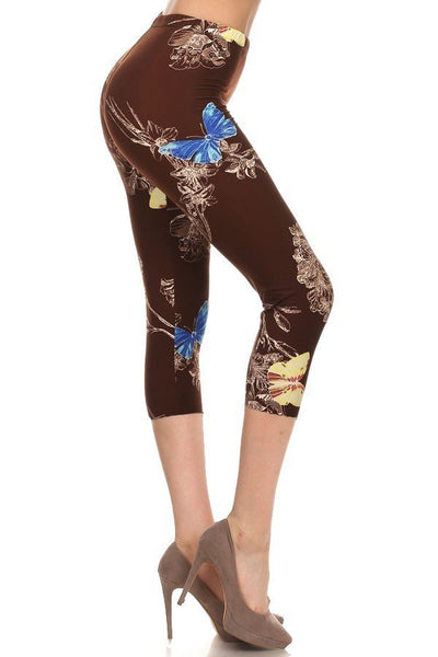 sueded monas butterfly capri legging