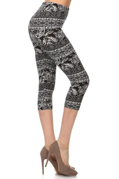 sueded paisley patch capri legging